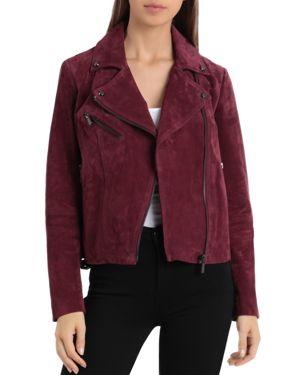 BAGATELLE.NYC Bagatelle. Nyc Buckle Detail Suede Moto Jacket in Red/Pink