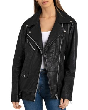BAGATELLE.NYC Bagatelle. Nyc Oversized Leather Moto Jacket in Black
