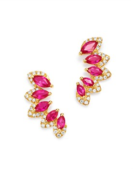 9e5bcaf84 Bloomingdale's - Ruby & Diamond Climber Earrings in 14K Yellow Gold - 100%  Exclusive ...
