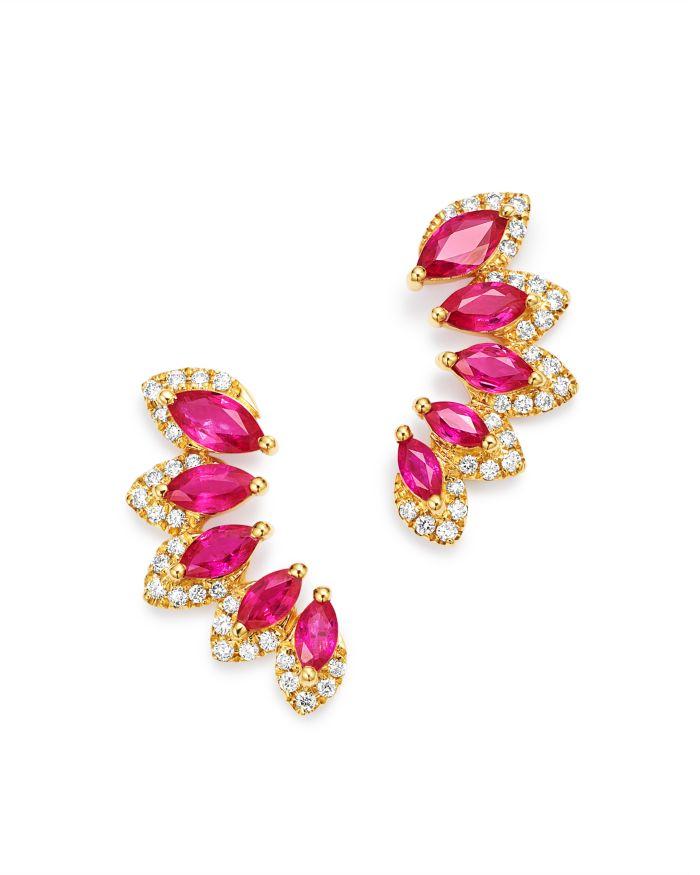 Bloomingdale's Ruby & Diamond Climber Earrings in 14K Yellow Gold - 100% Exclusive    Bloomingdale's