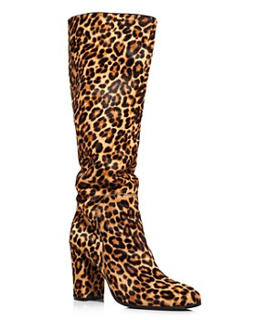 Kenneth Cole - Women's Justin Round Toe Leopard Print Calf Hair High-Heel Boots