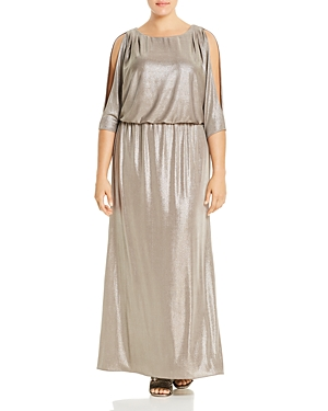 Adrianna Papell Plus Metallic Cowl-Back Gown
