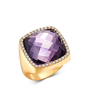 Roberto Coin 18K Rose Gold Amethyst Cocktail Ring with Diamonds