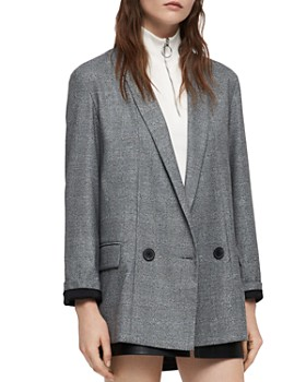 ALLSAINTS - Harriet Double-Breasted Plaid Blazer