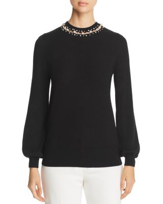 Sharar Faux Pearl Neck Sweater by Elie Tahari