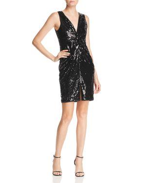 Aqua Twist-Front Sequined Dress - 100% Exclusive