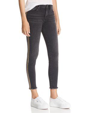 Metallic Track Stripe Skinny Jeans In Black/Rainbow - 100% Exclusive