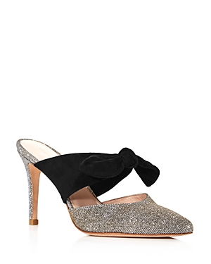 Loeffler Randall Women's Flora Pointed Toe Suede Bow High-Heel Mules