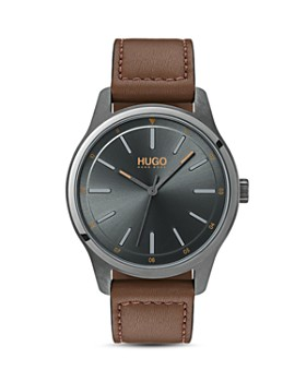 HUGO - #DARE Brown Leather Watch, 42mm