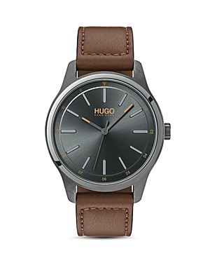Hugo #Dare Brown Leather Watch, 42mm