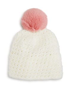 Surell - Girls' Star-Knit Beanie with Fur Pom-Pom