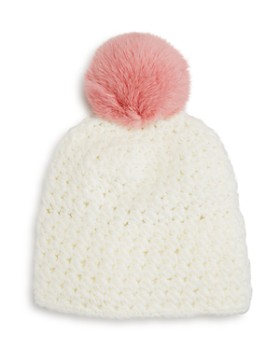 1e6258f48c2 Surell - Girls  Star-Knit Beanie with Fur Pom-Pom