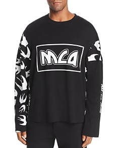 McQ Alexander McQueen - Long-Sleeve Swallows & Logo-Print Patchwork Tee