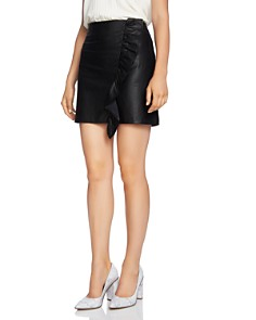 1.STATE - Ruffle-Trim Faux Leather Skirt