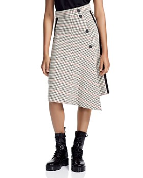 Maje - Jessil Asymmetric Plaid Midi Skirt