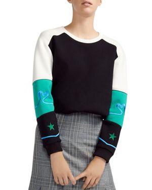 Tatoo Embroidered Color-Blocked Sweatshirt, Multicolor