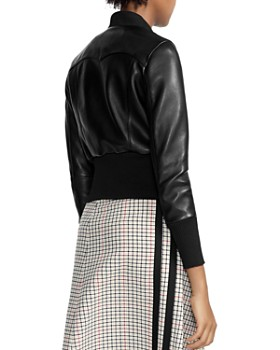Maje - Bloti Cropped Wide-Hem Leather Bomber Jacket