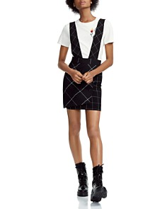 Maje - Joly Checked Overalls-Style Skirt