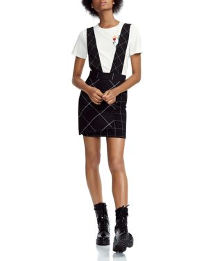 Joly Checked Overalls-Style Skirt, Black