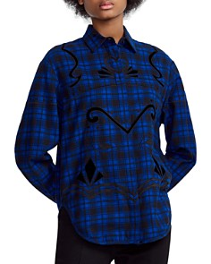 Maje - Cebel Embroidered Plaid Love Button-Down Shirt