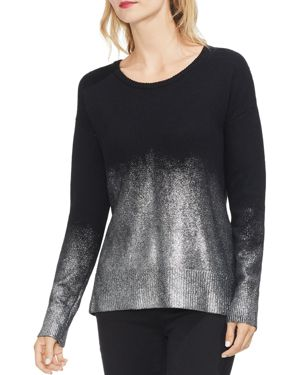VINCE CAMUTO Drop-Shoulder Foiled Ombre Sweater in Rich Black