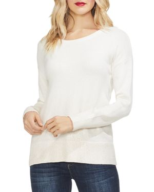 VINCE CAMUTO Drop-Shoulder Foiled Ombre Sweater in Antique White