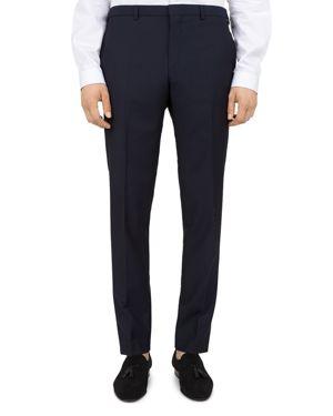 THE KOOPLES Embossed-Check Wool Slim Fit Trousers in Navy