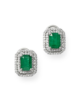 Bloomingdale's - Emerald & Diamond Double Halo Earrings in 14K White Gold - 100% Exclusive