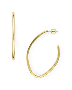 AQUA - Oval Hoop Earrings in 18K Gold-Plated Sterling Silver or Sterling Silver - 100% Exclusive