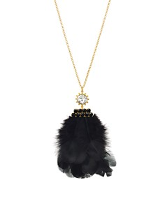 """kate spade new york - Crystal & Feather Pendant Necklace, 34"""""""