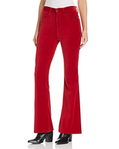 rag & bone/JEAN - Bella Flared Velvet Jeans in Red