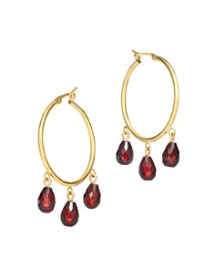 Bloomingdale's - Garnet Briolette Hoop Earrings in 14K Yellow Gold - 100% Exclusive