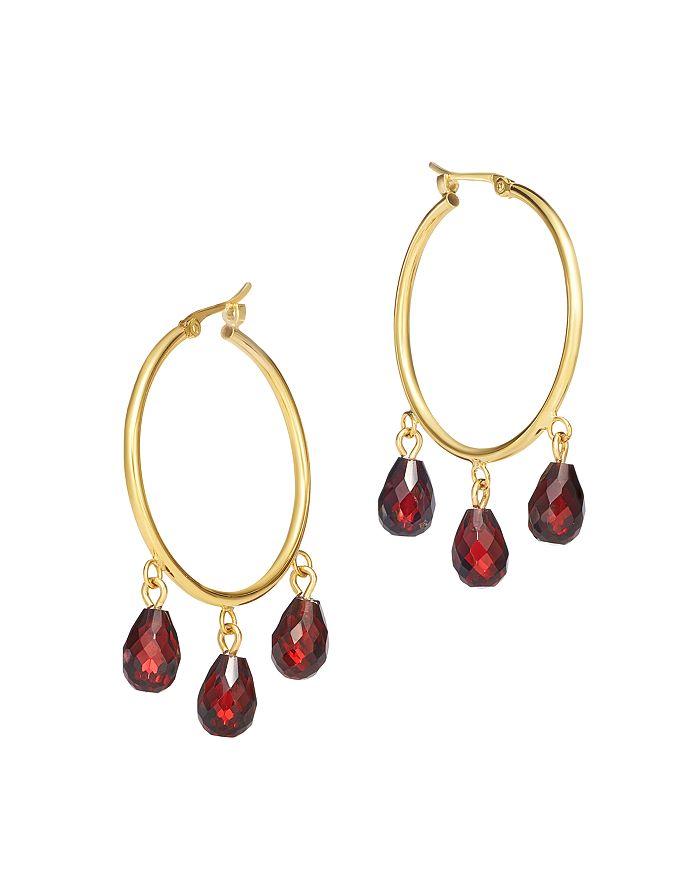 Bloomingdale's - Garnet Briolette Hoop Earrings in 14K Yellow Gold - 100% Exclusive