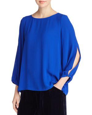 Split-Sleeve Silk Crepe Blouse, Plus Size in Royal