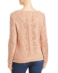 AQUA - Embellished Cable Knit Sweater - 100% Exclusive