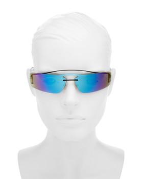 Prada - Women's Mirrored Brow Bar Rimless Shield Sunglasses, 160mm