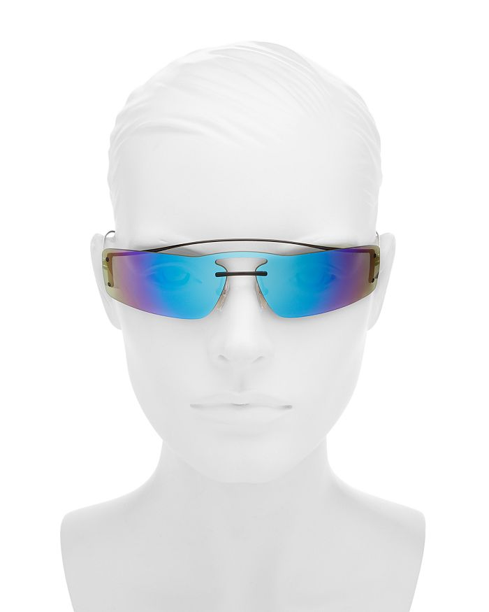 a095f5eeab33f Prada - Women s Mirrored Brow Bar Rimless Shield Sunglasses