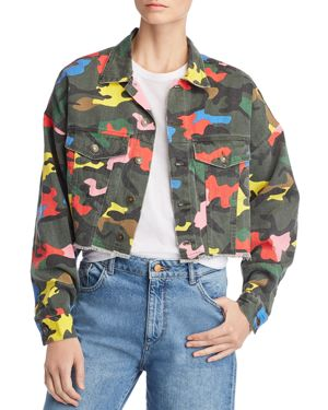 SUNSET & SPRING Sunset + Spring Camo Cropped Denim Jacket - 100% Exclusive in Multi Camo