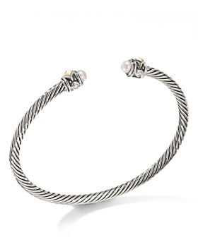 David Yurman Renaissance Cuff Bracelet With Cultured Freshwater Opalescent Pearl 18k Yellow Gold