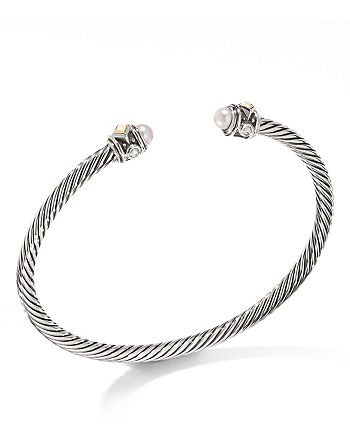 David Yurman - Renaissance Cuff Bracelet with Cultured Freshwater Opalescent Pearl & 18K Yellow Gold - 100% Exclusive