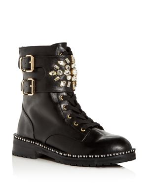 Women'S Stoop Embellished Boots in Black Leather