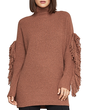 Bcbgmaxazria FRINGE-SLEEVE TURTLENECK SWEATER