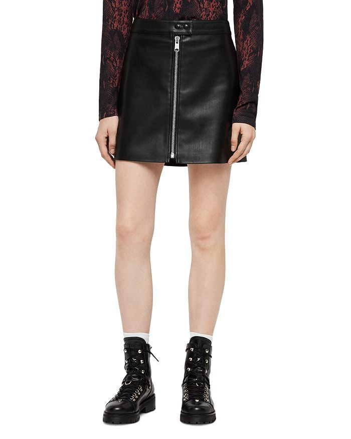 ALLSAINTS - Lena Zip-Front Leather Skirt