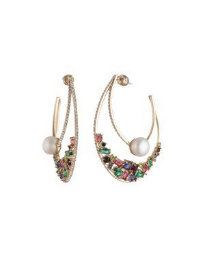 """CAROLEE Gold-Tone Multicolor Crystal & Freshwater Pearl (10Mm) 2-1/4"""" Statement Hoop Earrings"""