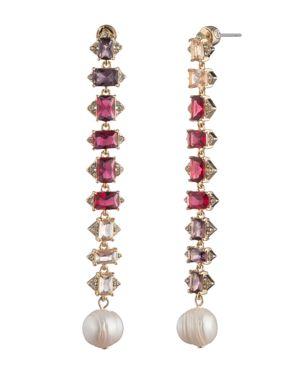 CAROLEE Crystal & Freshwater Pearl (12Mm) Linear Drop Earrings in Pink