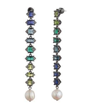 CAROLEE Crystal & Freshwater Pearl (12Mm) Linear Drop Earrings in Blue