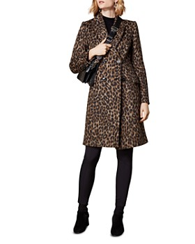 KAREN MILLEN - Double-Breasted Leopard-Print Coat