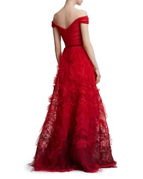 MARCHESA NOTTE - Off-the-Shoulder Textured Gown