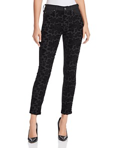 7 For All Mankind - Lace-Front Ankle Skinny Jeans in B(air) Black