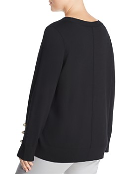 525 America Plus - Plus Faux Pearl Sleeve Sweater